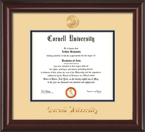 Image of Cornell University Diploma Frame - Mahogany Lacquer - w/Cornell Embossed Seal & Name - Cream on Black mat
