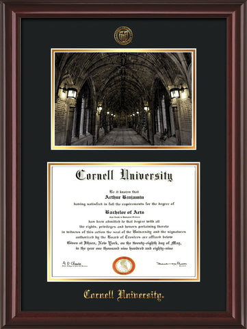Image of Cornell University Diploma Frame - Mahogany Lacquer - w/Cornell Embossed Seal & Name - War Memorial Watercolor - Black on Gold mat