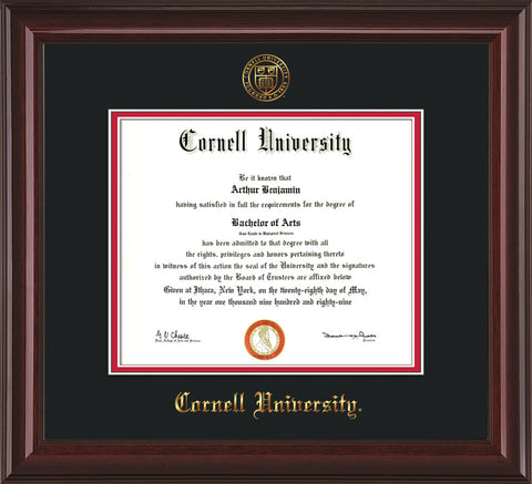 Image of Cornell University Diploma Frame - Mahogany Lacquer - w/Cornell Embossed Seal & Name - Black on Red mat