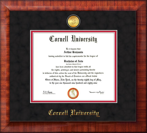 Image of Cornell University Diploma Frame - Mezzo Gloss - w/24k Gold Plated Medallion Cornell Name Embossing - Black Suede on Red Mat