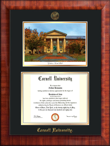 Image of Cornell University Diploma Frame - Mezzo Gloss - w/Cornell Embossed Seal & Name - Goldwin-Smith Hall Watercolor - Black on Gold mat