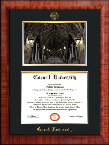Image of Cornell University Diploma Frame - Mezzo Gloss - w/Cornell Embossed Seal & Name - War Memorial Watercolor - Black on Gold mat