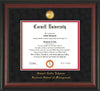 Image of Cornell University Diploma Frame - Rosewood- w/24k Gold Plated Medallion - School of Management Embossing - Black Suede on Red Mat