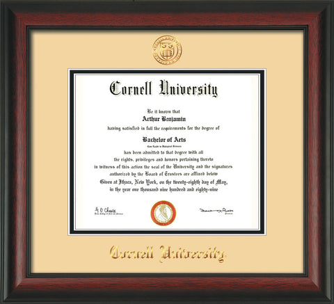 Image of Cornell University Diploma Frame - Rosewood - w/Cornell Embossed Seal & Name - Cream on Black mat
