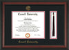 Image of Cornell University Diploma Frame - Rosewood - w/Cornell Embossed Seal & Name - Tassel Holder - Black on Red mat