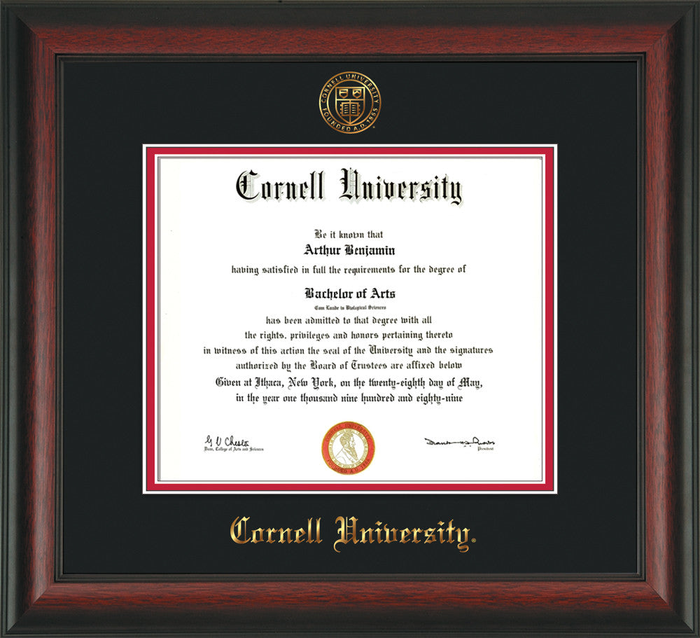 Cornell U. Diploma Frame-Rosewood-w/Cornell Seal-Black on Red mat ...