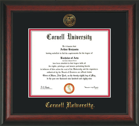 Image of Cornell University Diploma Frame - Rosewood - w/Cornell Embossed Seal & Name - Black on Red mat