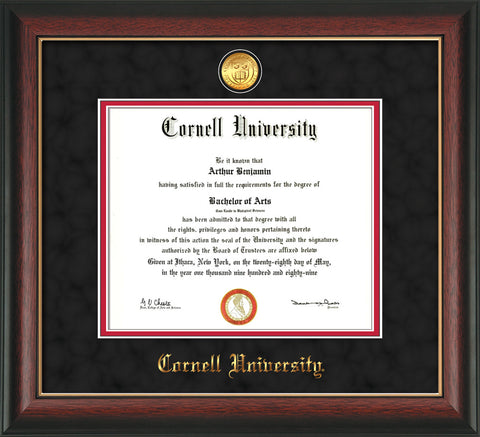 Image of Cornell University Diploma Frame - Rosewood w/Gold Lip - w/24k Gold Plated Medallion Cornell Name Embossing - Black Suede on Red Mat