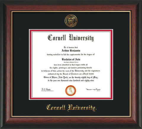 Image of Cornell University Diploma Frame - Rosewood w/Gold Lip - w/Cornell Embossed Seal & Name - Black on Red mat