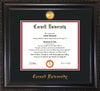 Image of Cornell University Diploma Frame - Vintage Black Scoop - w/24k Gold Plated Medallion Cornell Name Embossing - Black on Red Mat