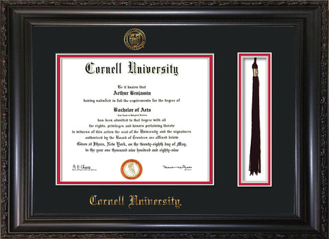 Image of Cornell University Diploma Frame - Vintage Black Scoop - w/Cornell Embossed Seal & Name - Tassel Holder - Black on Red mat