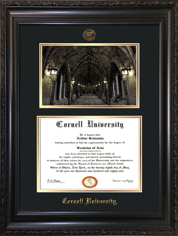 Image of Cornell University Diploma Frame - Vintage Black Scoop - w/Cornell Embossed Seal & Name - War Memorial Watercolor - Black on Gold mat