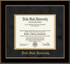 Image of Delta State University Diploma Frame - Black Lacquer - w/School Name Only - Black Suede on Gold mats