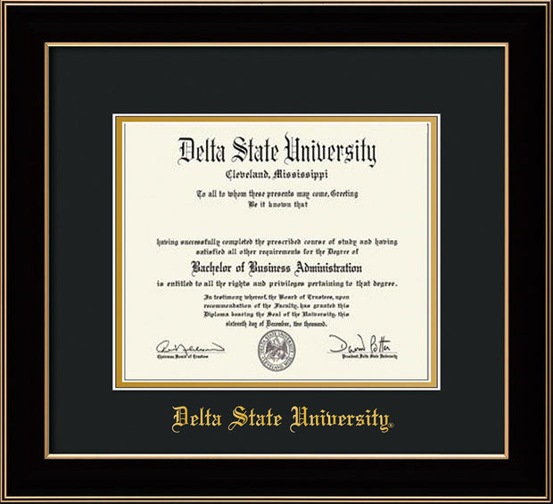 Image of Delta State University Diploma Frame - Black Lacquer - w/School Name Only - Black on Gold mats