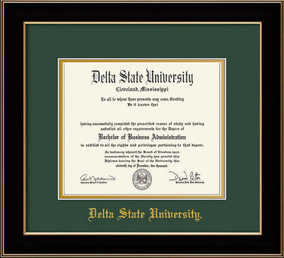 Image of Delta State University Diploma Frame - Black Lacquer - w/School Name Only - Green on Gold mats