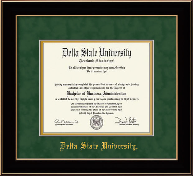 Image of Delta State University Diploma Frame - Black Lacquer - w/School Name Only - Green Suede on Gold mats