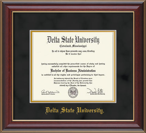 Image of Delta State University Diploma Frame - Cherry Lacquer - w/School Name Only - Black Suede on Gold mats