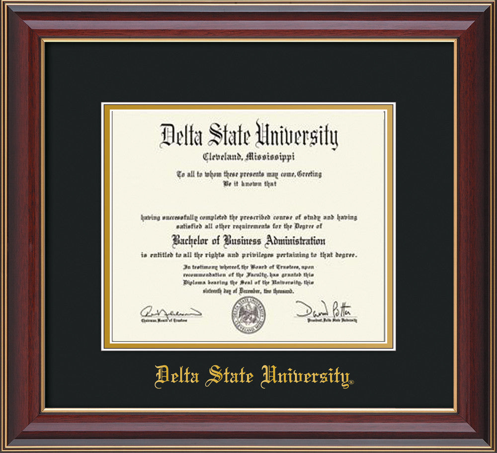 Delta State Diploma Frame-Cherry Lacquer-w/Name-Black/Gold ...