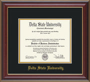 Image of Delta State University Diploma Frame - Cherry Lacquer - w/School Name Only - Black on Gold mats