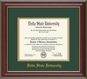 Image of Delta State University Diploma Frame - Cherry Lacquer - w/School Name Only - Green on Gold mats