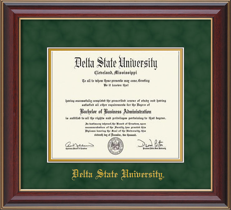 Image of Delta State University Diploma Frame - Cherry Lacquer - w/School Name Only - Green Suede on Gold mats