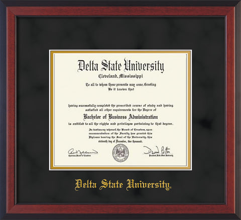 Image of Delta State University Diploma Frame - Cherry Reverse - w/School Name Only - Black Suede on Gold mats
