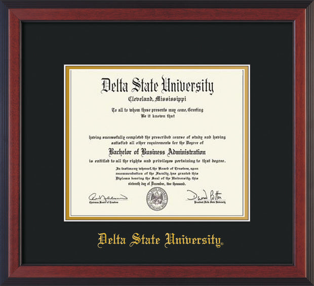 Image of Delta State University Diploma Frame - Cherry Reverse - w/School Name Only - Black on Gold mats