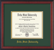 Image of Delta State University Diploma Frame - Cherry Reverse - w/School Name Only - Green on Gold mats