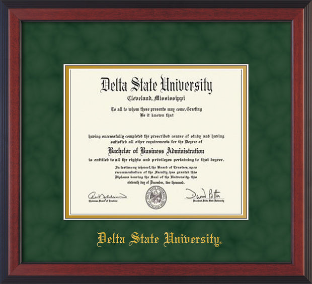 Image of Delta State University Diploma Frame - Cherry Reverse - w/School Name Only - Green Suede on Gold mats