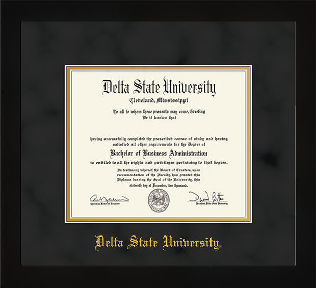 Image of Delta State University Diploma Frame - Flat Matte Black - w/School Name Only - Black Suede on Gold mats