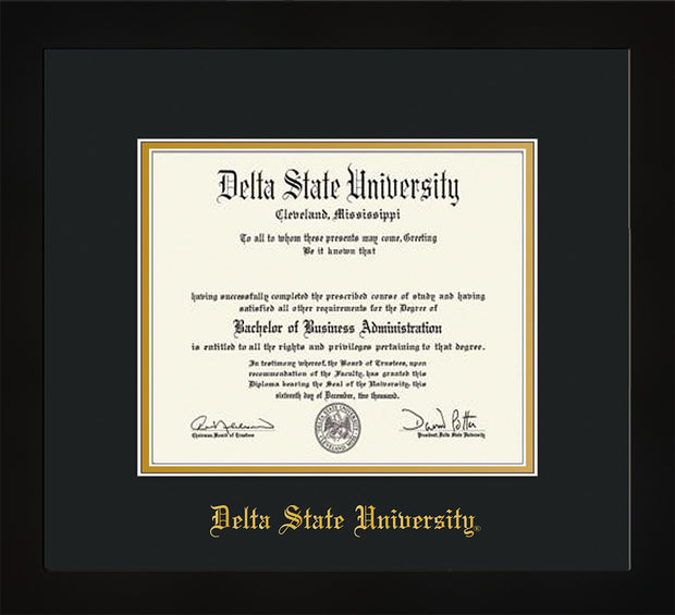 Image of Delta State University Diploma Frame - Flat Matte Black - w/School Name Only - Black on Gold mats