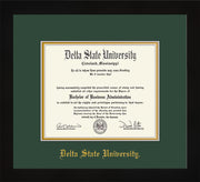 Image of Delta State University Diploma Frame - Flat Matte Black - w/School Name Only - Green on Gold mats