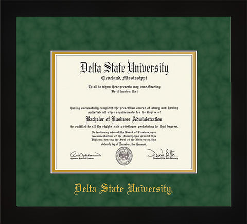 Image of Delta State University Diploma Frame - Flat Matte Black - w/School Name Only - Green Suede on Gold mats