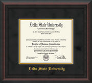 Image of Delta State University Diploma Frame - Mahogany Braid - w/School Name Only - Black Suede on Gold mats