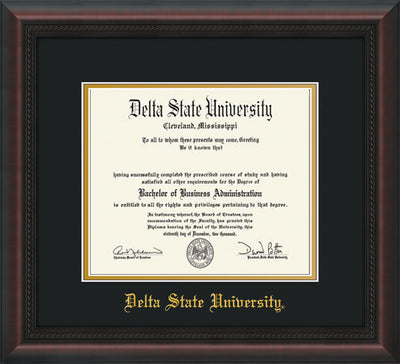 Image of Delta State University Diploma Frame - Mahogany Braid - w/School Name Only - Black on Gold mats