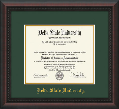 Image of Delta State University Diploma Frame - Mahogany Braid - w/School Name Only - Green on Gold mats
