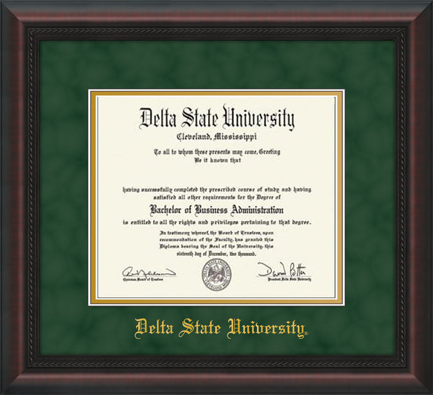 Image of Delta State University Diploma Frame - Mahogany Braid - w/School Name Only - Green Suede on Gold mats