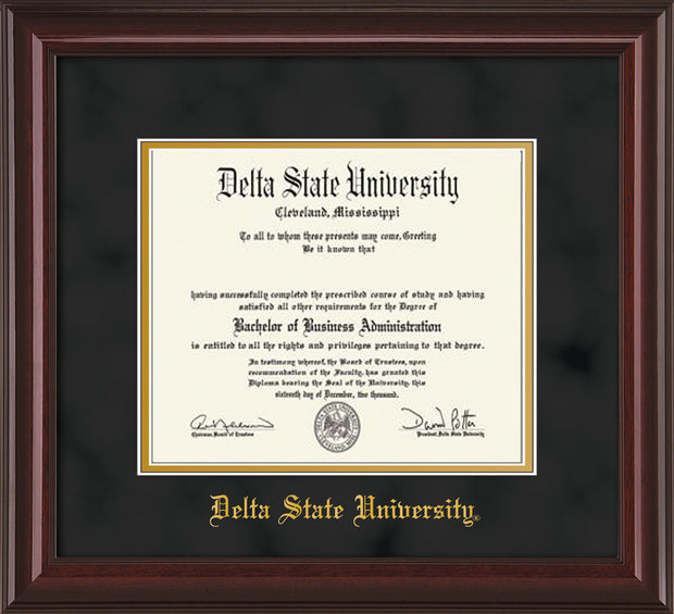 Image of Delta State University Diploma Frame - Mahogany Lacquer - w/School Name Only - Black Suede on Gold mats