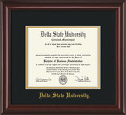 Image of Delta State University Diploma Frame - Mahogany Lacquer - w/School Name Only - Black on Gold mats
