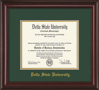 Image of Delta State University Diploma Frame - Mahogany Lacquer - w/School Name Only - Green on Gold mats
