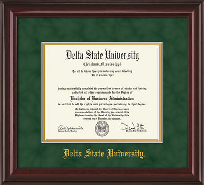 Image of Delta State University Diploma Frame - Mahogany Lacquer - w/School Name Only - Green Suede on Gold mats