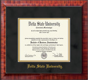 Image of Delta State University Diploma Frame - Mezzo Gloss - w/School Name Only - Black Suede on Gold mats