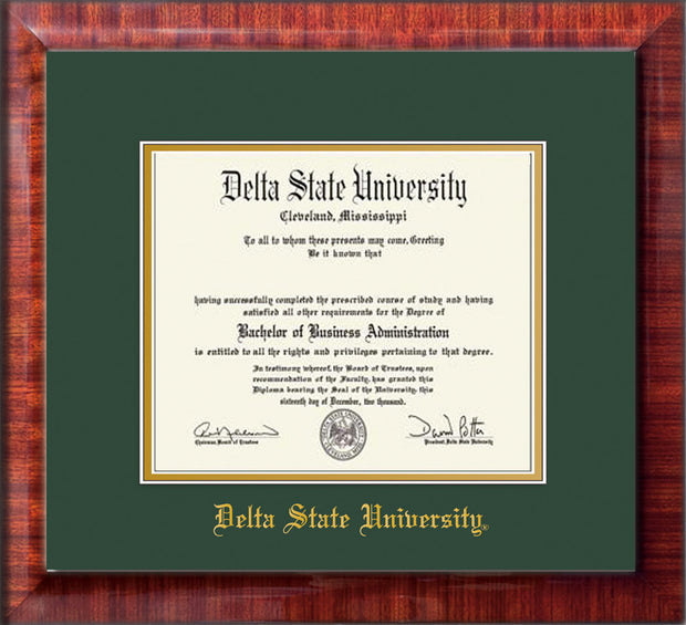 Image of Delta State University Diploma Frame - Mezzo Gloss - w/School Name Only - Green on Gold mats