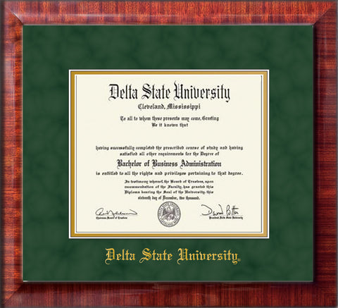 Image of Delta State University Diploma Frame - Mezzo Gloss - w/School Name Only - Green Suede on Gold mats