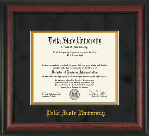 Image of Delta State University Diploma Frame - Rosewood - w/School Name Only - Black Suede on Gold mats