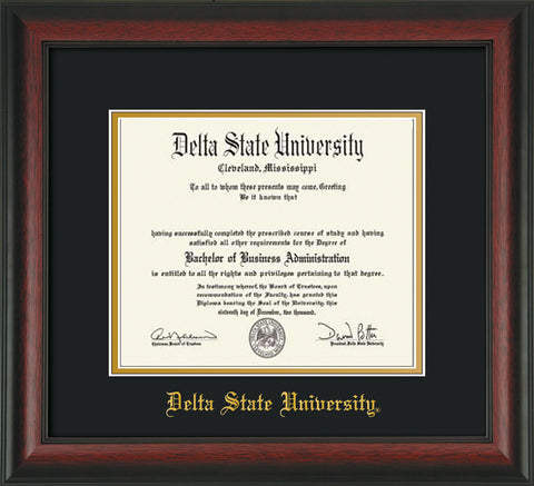 Image of Delta State University Diploma Frame - Rosewood - w/School Name Only - Black on Gold mats
