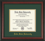 Image of Delta State University Diploma Frame - Rosewood - w/School Name Only - Green on Gold mats
