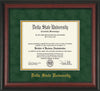 Image of Delta State University Diploma Frame - Rosewood - w/School Name Only - Green Suede on Gold mats