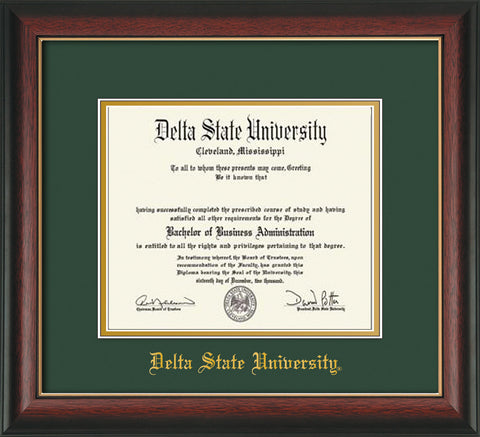 Image of Delta State University Diploma Frame - Rosewood w/Gold Lip - w/School Name Only - Green on Gold mats