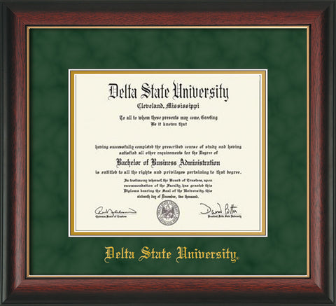 Image of Delta State University Diploma Frame - Rosewood w/Gold Lip - w/School Name Only - Green Suede on Gold mats